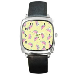 Watermelon Wallpapers  Creative Illustration And Patterns Square Metal Watch
