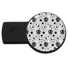 Skull Pattern Usb Flash Drive Round (4 Gb)