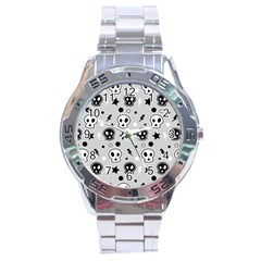 Skull Pattern Stainless Steel Analogue Watch