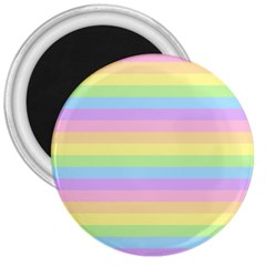 Cute Pastel Rainbow Stripes 3  Magnets