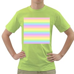 Cute Pastel Rainbow Stripes Green T Shirt