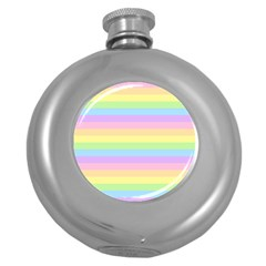 Cute Pastel Rainbow Stripes Round Hip Flask (5 Oz) by BangZart