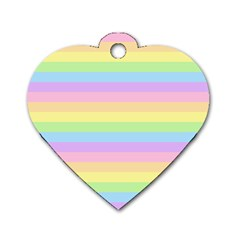 Cute Pastel Rainbow Stripes Dog Tag Heart (two Sides) by BangZart