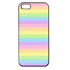 Cute Pastel Rainbow Stripes Apple Iphone 5 Seamless Case (black) by BangZart