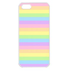 Cute Pastel Rainbow Stripes Apple Iphone 5 Seamless Case (white) by BangZart