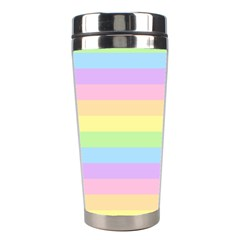 Cute Pastel Rainbow Stripes Stainless Steel Travel Tumblers
