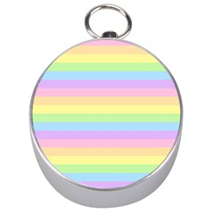 Cute Pastel Rainbow Stripes Silver Compasses