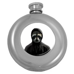 Gangsta Raccoon  Round Hip Flask (5 Oz)