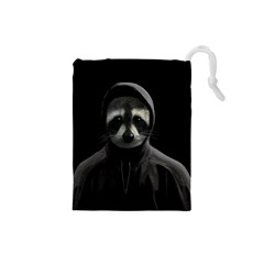 Gangsta Raccoon  Drawstring Pouches (small)  by Valentinaart
