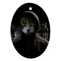 Gangsta Cat Ornament (oval)