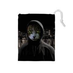 Gangsta Cat Drawstring Pouches (medium)
