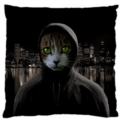 Gangsta Cat Large Flano Cushion Case (two Sides)