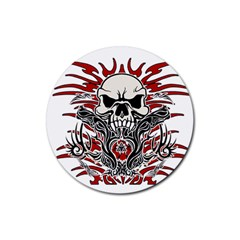 Skull Tribal Rubber Round Coaster (4 Pack)  by Valentinaart