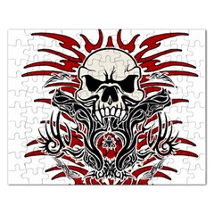 Skull Tribal Rectangular Jigsaw Puzzl by Valentinaart