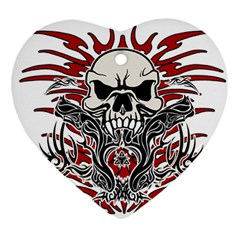 Skull Tribal Heart Ornament (two Sides) by Valentinaart