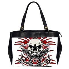 Skull Tribal Office Handbags (2 Sides)  by Valentinaart