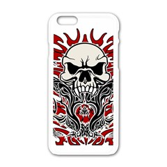 Skull Tribal Apple Iphone 6/6s White Enamel Case by Valentinaart