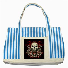 Skull Tribal Striped Blue Tote Bag by Valentinaart