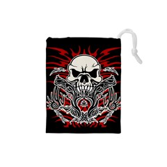Skull Tribal Drawstring Pouches (small)  by Valentinaart