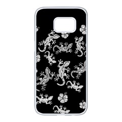 Ornate Lizards Samsung Galaxy S7 Edge White Seamless Case
