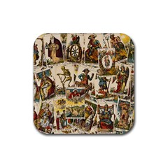 Tarot Cards Pattern Rubber Coaster (square)  by Valentinaart