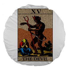 The Devil   Tarot Large 18  Premium Flano Round Cushions by Valentinaart
