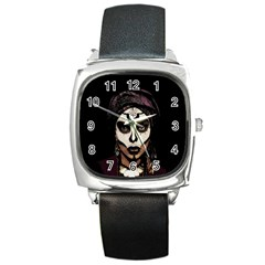 Voodoo  Witch  Square Metal Watch by Valentinaart
