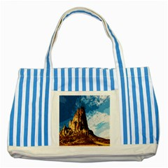 Landscape Striped Blue Tote Bag by Valentinaart