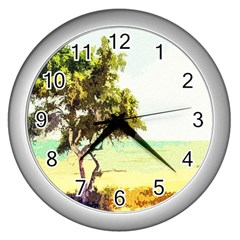 Landscape Wall Clocks (silver)  by Valentinaart