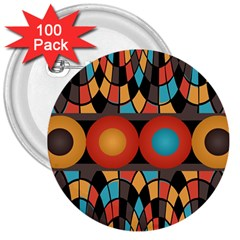 Colorful Geometric Composition 3  Buttons (100 Pack)  by linceazul