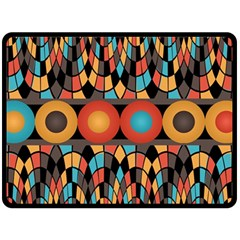 Colorful Geometric Composition Double Sided Fleece Blanket (large)  by linceazul