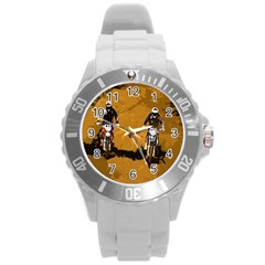 Motorsport  Round Plastic Sport Watch (l) by Valentinaart