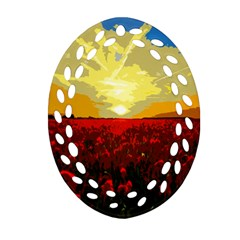 Poppy Field Oval Filigree Ornament (two Sides)