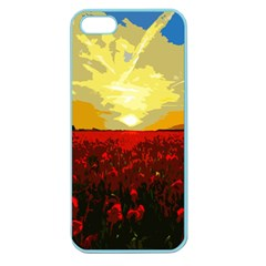 Poppy Field Apple Seamless Iphone 5 Case (color) by Valentinaart