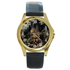 Underwater Round Gold Metal Watch by Valentinaart