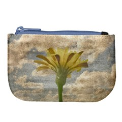 Shabby Chic Style Flower Over Blue Sky Photo  Large Coin Purse by dflcprints