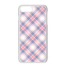 Pastel Pink And Blue Plaid Apple Iphone 7 Plus White Seamless Case by NorthernWhimsy