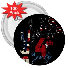 4th Of July Independence Day 3  Buttons (100 Pack)  by Valentinaart