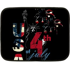 4th Of July Independence Day Fleece Blanket (mini) by Valentinaart
