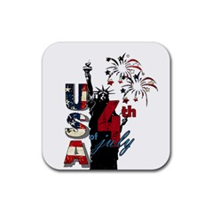 4th Of July Independence Day Rubber Coaster (square)  by Valentinaart