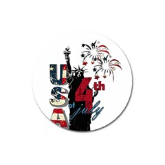 4th Of July Independence Day Magnet 3  (round)