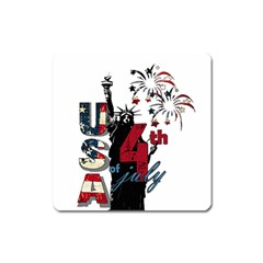 4th Of July Independence Day Square Magnet by Valentinaart