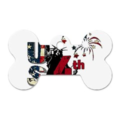 4th Of July Independence Day Dog Tag Bone (two Sides)