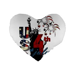 4th Of July Independence Day Standard 16  Premium Flano Heart Shape Cushions