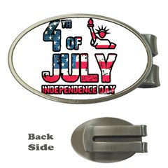 4th Of July Independence Day Money Clips (oval)  by Valentinaart