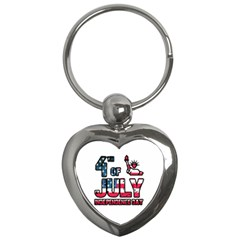 4th Of July Independence Day Key Chains (heart)  by Valentinaart