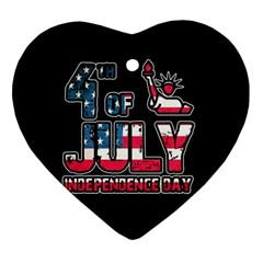 4th Of July Independence Day Ornament (heart) by Valentinaart
