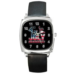 4th Of July Independence Day Square Metal Watch by Valentinaart
