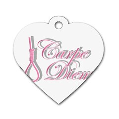 Carpe Diem  Dog Tag Heart (two Sides) by Valentinaart