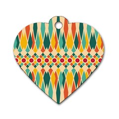 Festive Pattern Dog Tag Heart (two Sides) by linceazul